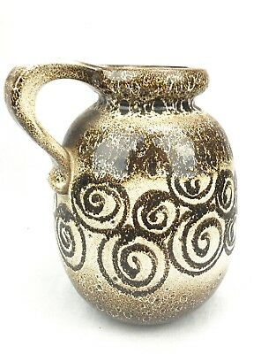 West German Pottery Large Jug / 1960's / 70s Retro Vase - Brown And Cream
