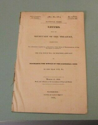 Antique 1828 Letter from the US Secretary of the Treasury on the National Debt