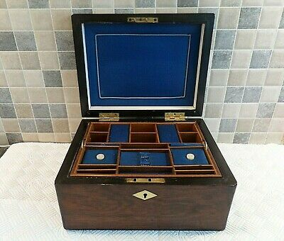 VICTORIAN 19thC ROSEWOOD SEWING BOX WITH ORIGINAL INTERIOR + TRAY- LOCK & KEY
