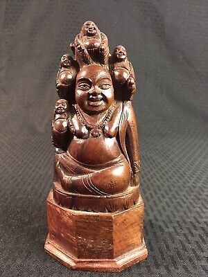 Vintage Chinese Huangyang Boxwood Carving Wood Carved Happy Laughing Buddha