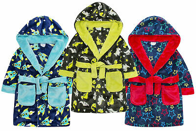 Boys Dinosaur Rocket Star Robe Kids Hooded Soft Bath Robe Dressing Gown 2-6 Yrs