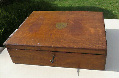 Antique Victorian Oak Wooden Empty Cutlery Box / Canteen with 2 Trays & Key - M