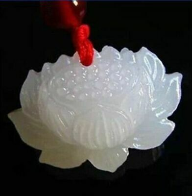 natural hand-carved Chinese jade pendant - White jade lotus /free shipping
