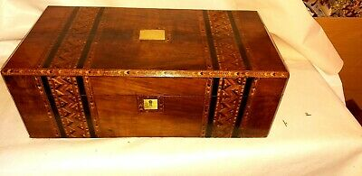 Big Beautifull Tunbridge ware Writing Slope  Lock &key &2 inkwells.3 secret draw