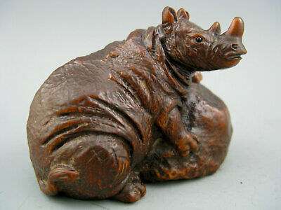 Antique Chinese Old Boxwood Hand Carved Rhinoceros Statue Collectible