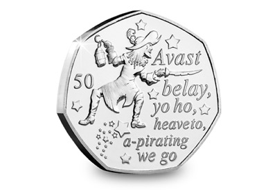 2019 CAPTAIN HOOK 50p COIN UNCIRCULATED ISLE OF MAN FIFTY PENCE BANK SEALED COIN