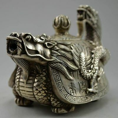 China Decorated Old Handwork Tibet Silver Carved Dragon Tortoise Tea Pot NR