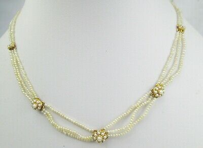 Fine Antique Victorian 15ct Gold and Natural Pearl Multi Strand Festoon Necklace