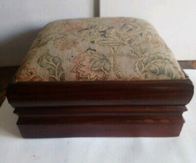 Antique Wooden Mahogany Large Heavy Footstool, Great Colour Interesting Moulding