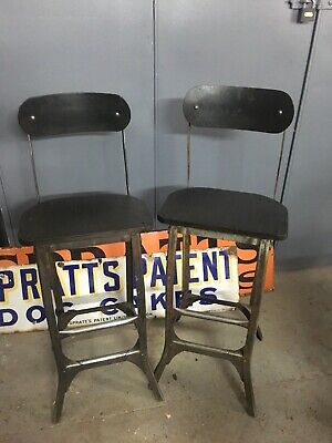 Vintage Industrial G.K.N Machinist Engineers Draftsman Chairs - Pair
