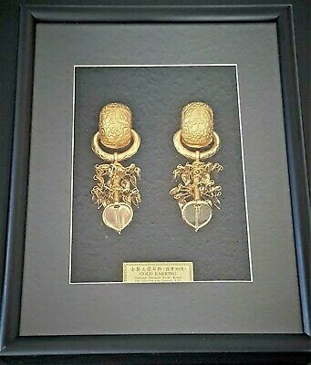 Gold Earrings National Treasure  No 90 Korea, 24 K Gold Plated - Replikat