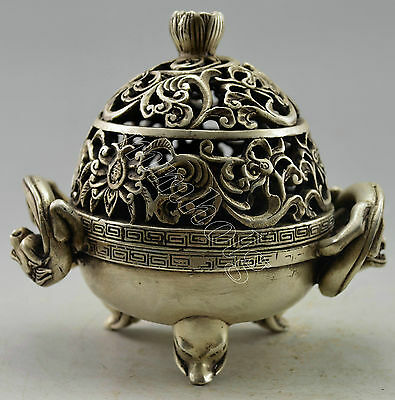 Collectible Decorated Old Handwork Tibet Silver Carve Pair Dragon Incense Burner