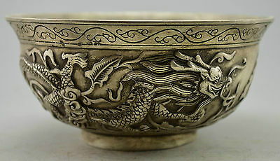 Collectible Old Decorated  Handwork Tibet Silver Carved Pair Dragon Bowl NR