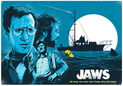 1975 Jaws Alternate Movie Poster/Print > Great White Shark > Brody > Quint