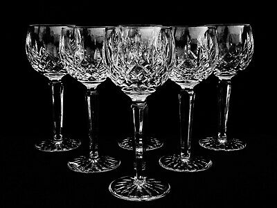 "6 Brilliant Waterford Crystal ""Lismore"" Wine Hock Glasses ~ Made In Ireland"