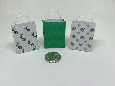 Handmade 1:12th Scale Dolls House Miniature Set of 3 Christmas Xmas Gift Bags 2