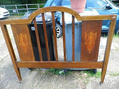 Antique Edwardian Decorative Double Wooden Bed Headboard  - Castor Wheels