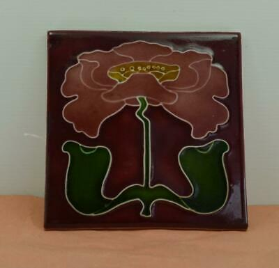 "Vintage Porteous Hand made Art Nouveau wall tile 6 x 6 "" Beautiful tube lined"
