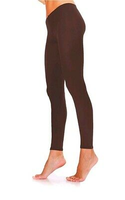 Womens Opaque Soft Microfiber FOOTLESS Tights 100 Denier  Brown Size S/M