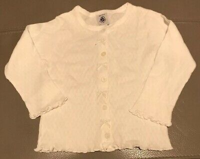 Petit Bateau White Bow And Button Top Age 18 Months