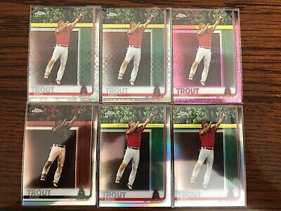 Lot (6) MIKE TROUT 2019 TOPPS CHROME #200 X-FRACTOR, SEPIA, Pink & REFRACTOR