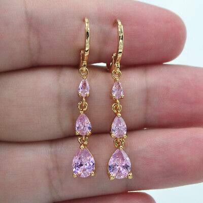 18K Yellow Gold Filled Women Lovely Pink Topaz Teardrop Dangle Earrings Jewelry
