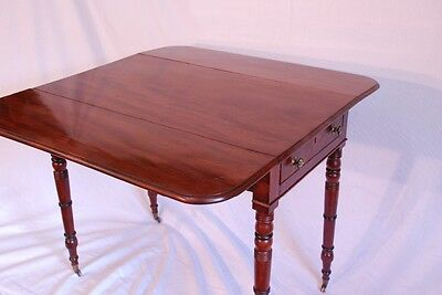 MAHOGANY PEMBROKE TABLE 1800-1899 GATE LEG VICTORIAN on BRASS Castors Restored
