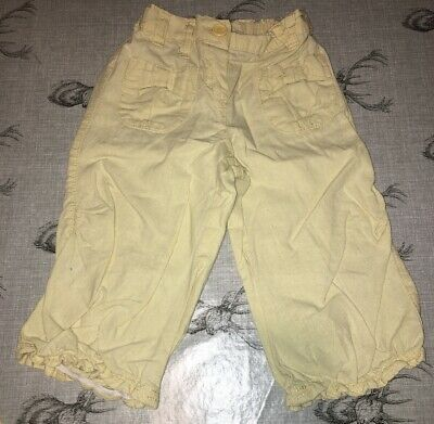 Next - Cropped Cotton/Linen Yellow Trousers (3-4 Years)