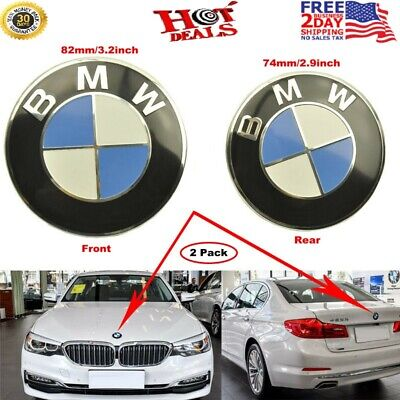 2 PCS Front Hood & Rear Trunk (82mm & 74mm) ORIGINAL BMW Badge Emblem All Series