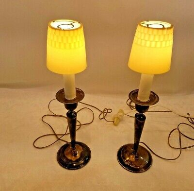 Vintage Nickel Silver Color Pair of Lamps With Shades