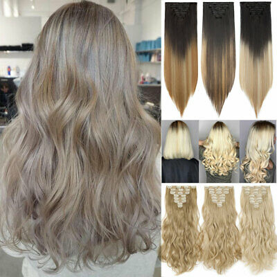 8Pcs Ombre Full Head Clip in 100% Natural Hair Extensions as Human Long Thick UK