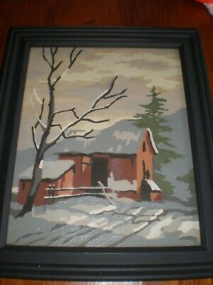Vintage Completed Country Barn Chicken Coop Winter Scene Framed Paint by Number