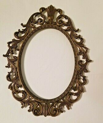 Vintage Gold Metal Oval Ornate Picture Frame Italy