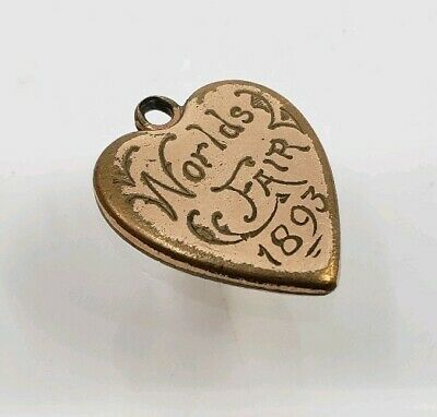 Antique Victorian Worlds Fair 1893 Engraved Heart Pendant For Necklace Charm