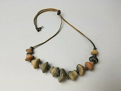Old Maybe Ancient Carved Clay Spindle Whorl Beads Leather Cord Handmade Necklace