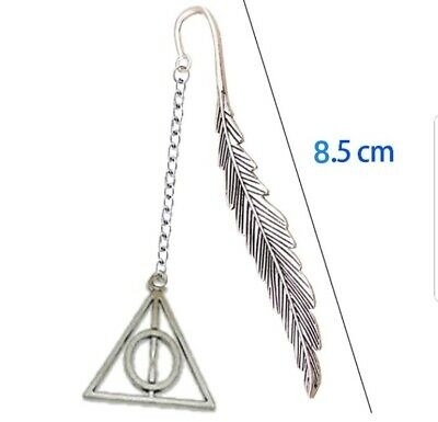 Silver Harry Potter Deathly Hallows Metal Feather Dangle Bookmark