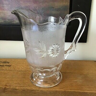 EAPG c1885 Bryce Brothers DAHLIA Flint Pressed Glass Victorian Pitcher ~~ LOVELY