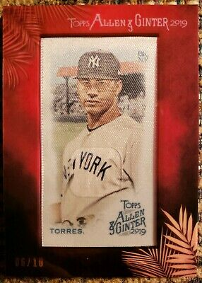 2019 Topps Allen & Ginter Gleyber Torres Silk Card #6/10 New York Yankees