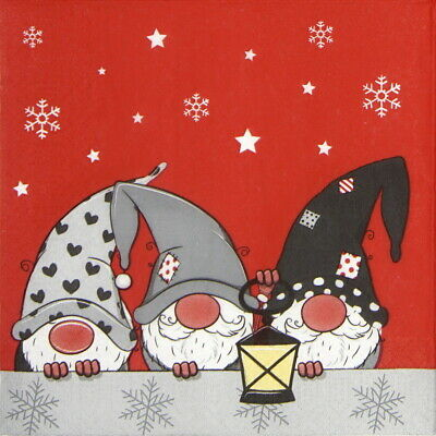 Decoupage Craft 4x Paper Napkins for Party Tomte Grey