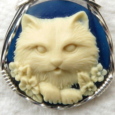 Flower Cat Cameo Pendant .925 Sterling Silver Jewelry Blue Resin
