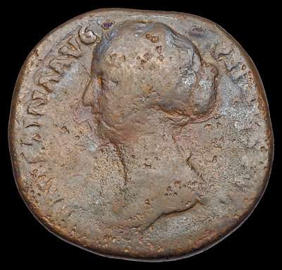 Faustina II the Younger AE Sestertius, Wife of Marcus Aurelius, Rare left bust
