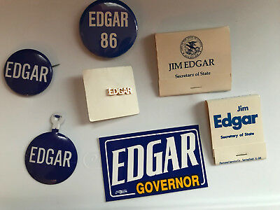Lot of 7  - Jim Edgar Illinois Governor buttons and campaign items