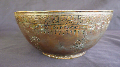 Large Heavy Antique Hand Beaten Tinned Copper  Bowl Middle Eastern