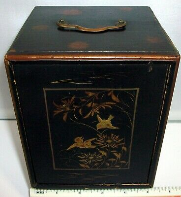 20's small Japanese lacquered box, 3 drawer, sliding front cover, birds in gold.