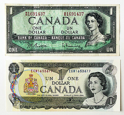 2 diff. Canada paper money $1 1973 xf & $1 1954 f-small pen mark on back