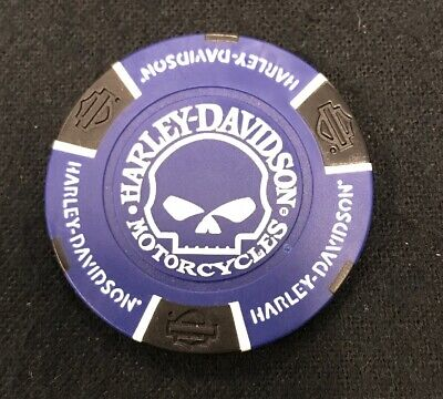 Harley Davidson Skull Willie G Poker Chip / Blue & Black