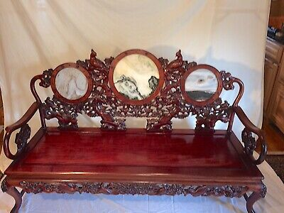 Asian antique furniture, Settee and 2 matching chairs, carved Rosewood, quails