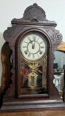 Antique Waterbury Wooden Mantle Clock