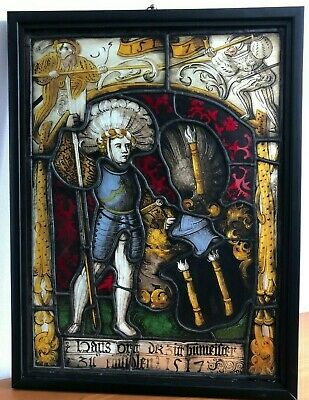 Dated 1517 Stained Armorial Glass Window - Genuine Swiss Early 16Th Century Rare