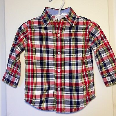 EUC! Janie & Jack Button Down Shirt RED BLUE Fall Plaid Baby Boys 6 - 12 Months